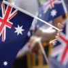 Australia flags waving